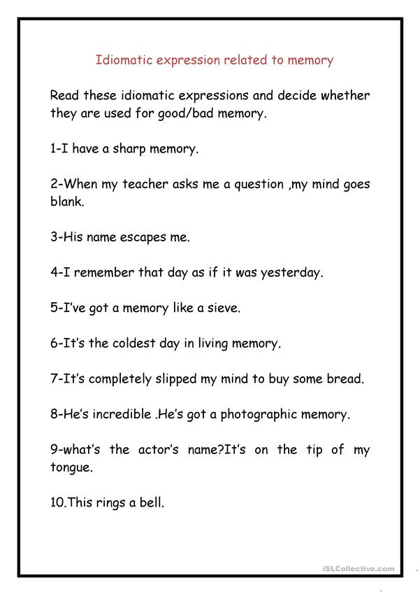 IDIOMATIC EXPRESSIONS RELATED TO MEMORIES.