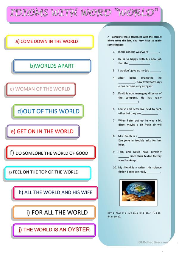 IDIOMS WITH THE WORD  WORLD