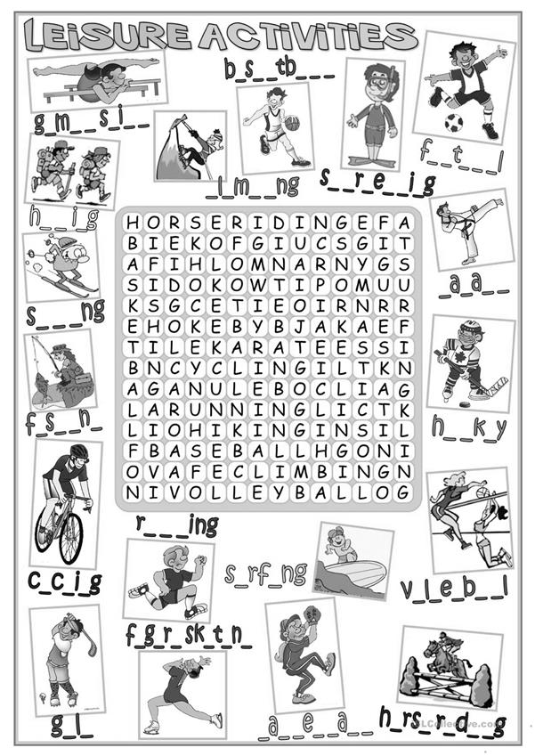 Leisure activities - wordsearch