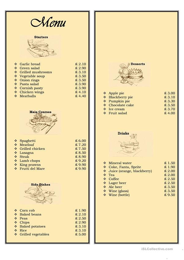 Menu in a restaurant - ordering food
