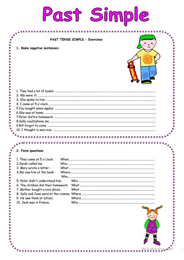 Past Simjple questions and negative form - regular verbs