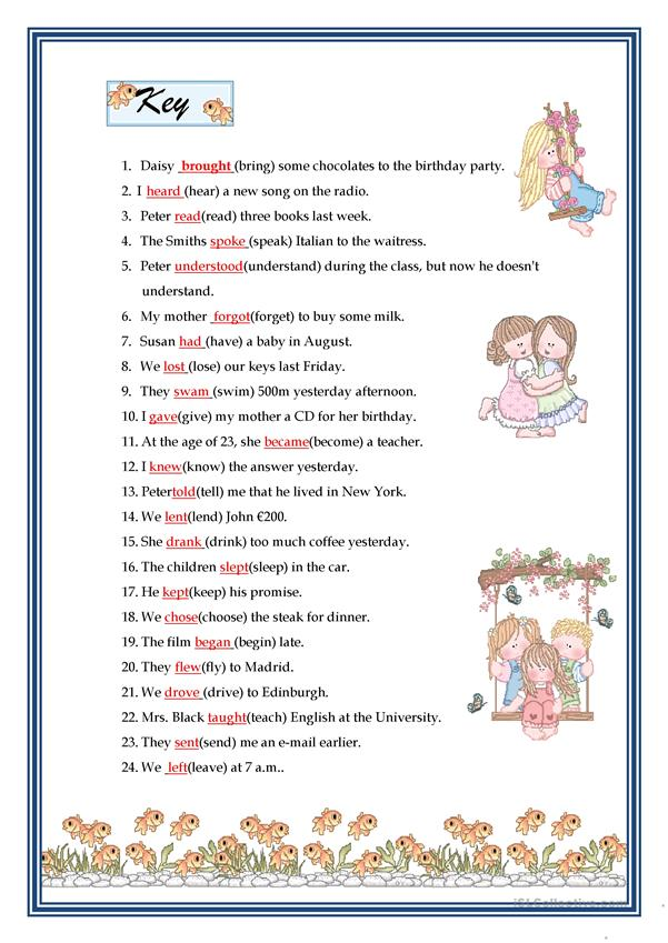 PAST SIMPLE - IRREGULAR VERBS - English ESL Worksheets For Distance  Learning And Physical Classrooms