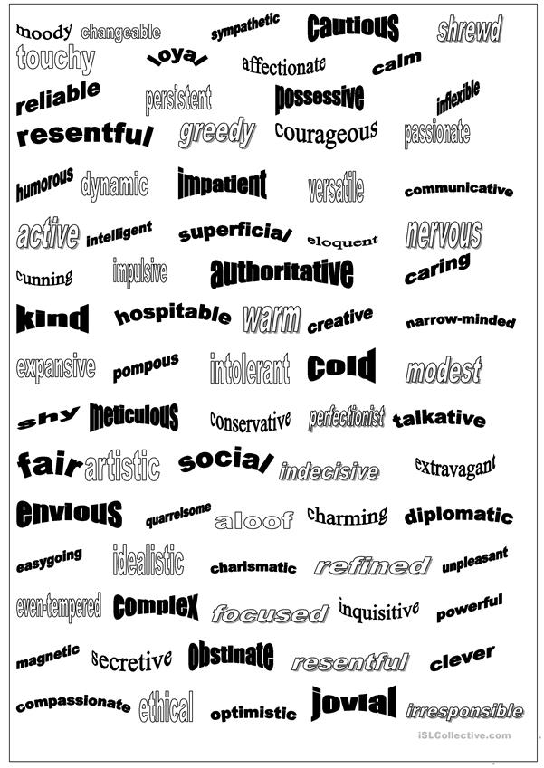 Personality adjectives, list 2