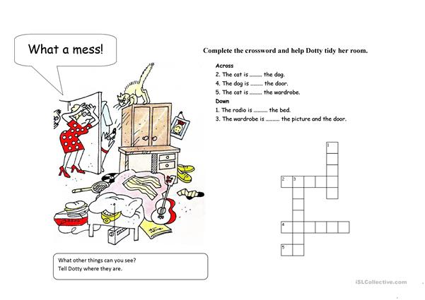 Prepositions Crossword