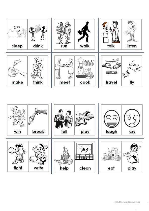 verbs small flashcards