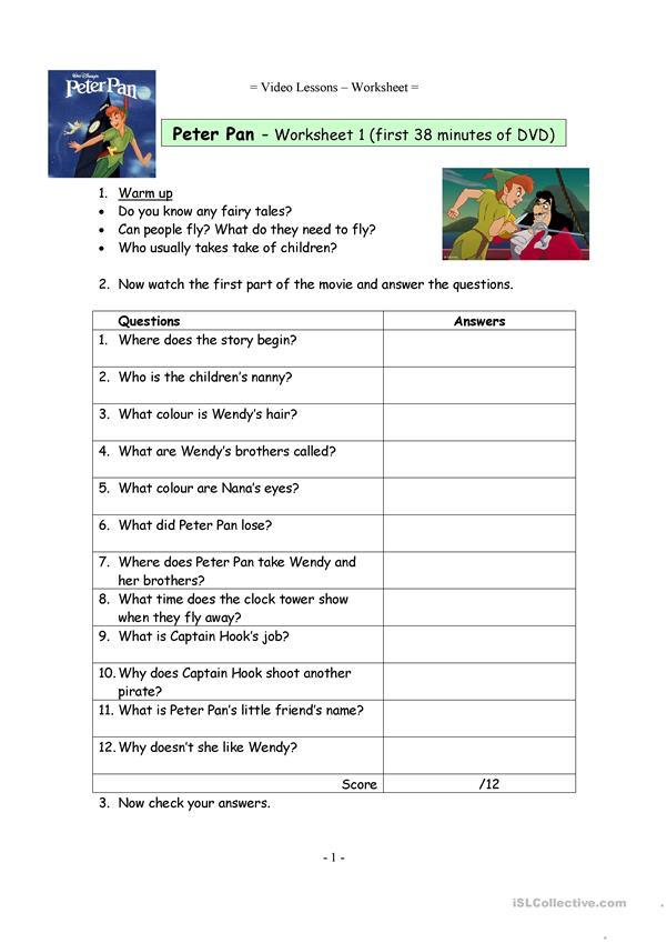 Video worksheets for the classic Disney movie Peter Pan