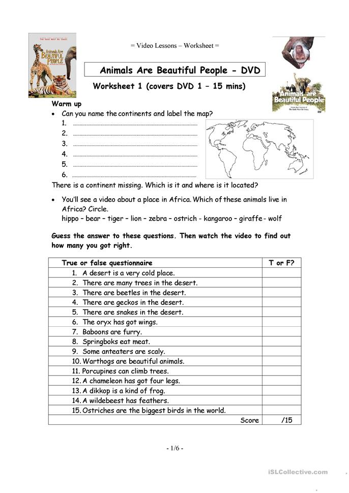 Worksheets For People : Video worksheets animals are beautiful people