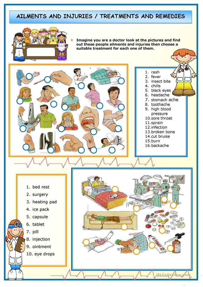 Ailments and Injuries - ESL worksheets