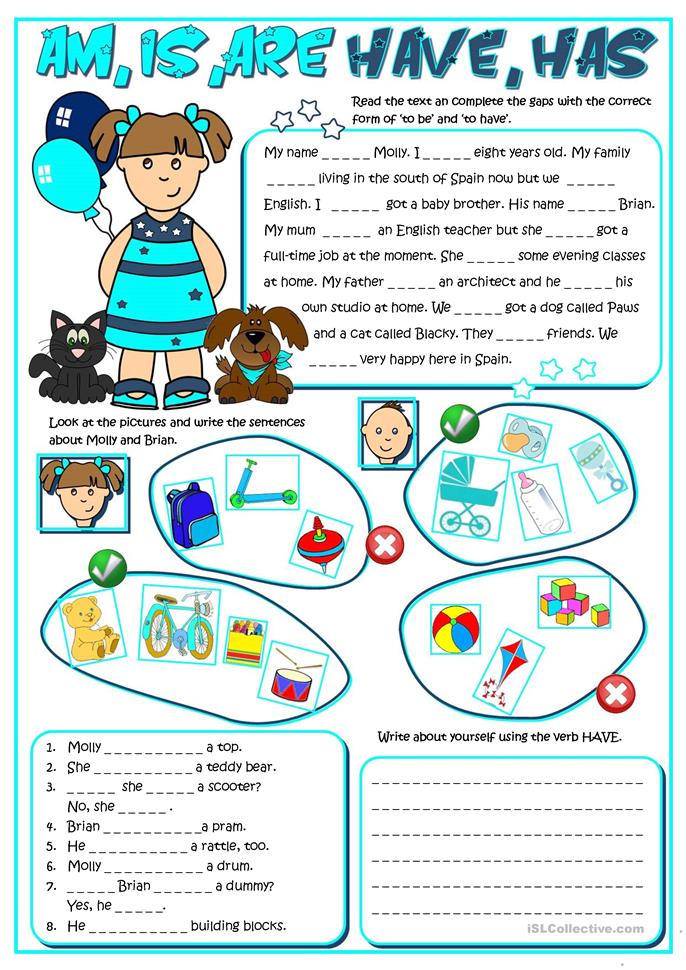Am ,is, are, have, has - ESL worksheets