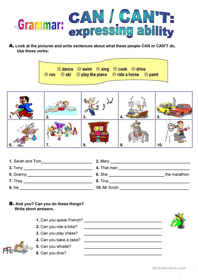 CAN - expressing ability - ESL worksheets