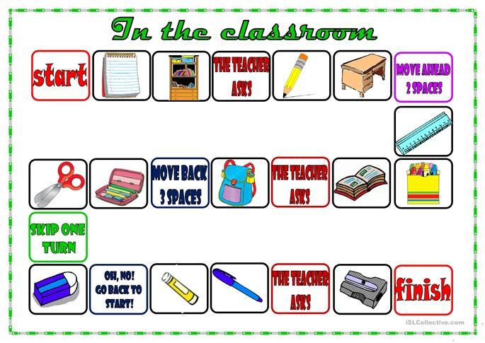 classroom board game - ESL worksheets