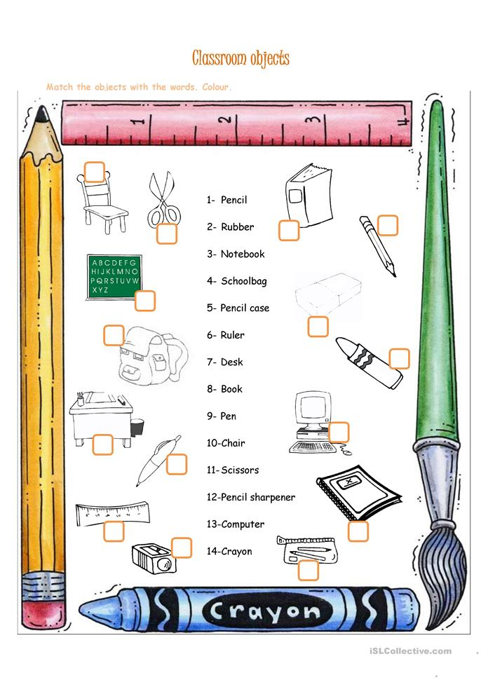 Classroom Design Tools Free ~ Free esl classroom objects worksheets
