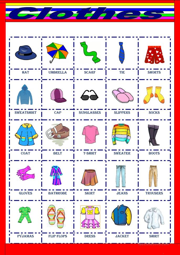 Clothes pictionary - ESL worksheets