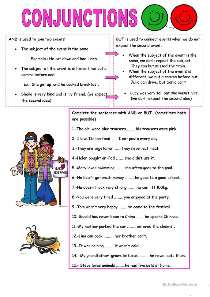 CONJUNCTIONS: AND, BUT - ESL worksheets