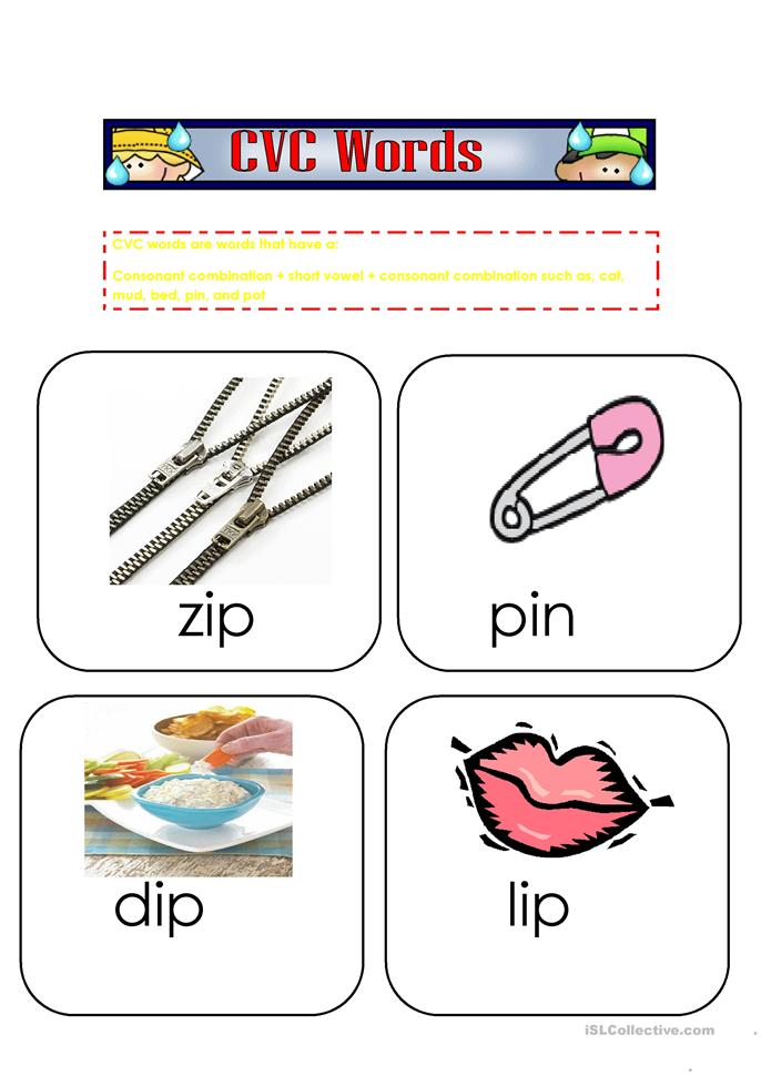 15 FREE ESL cvc words worksheets