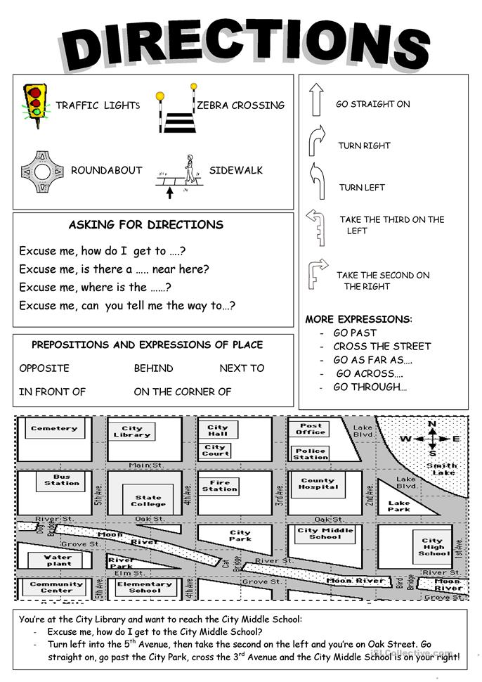 Worksheet Intermediate Directions Worksheet 128 free esl giving directions worksheets directions