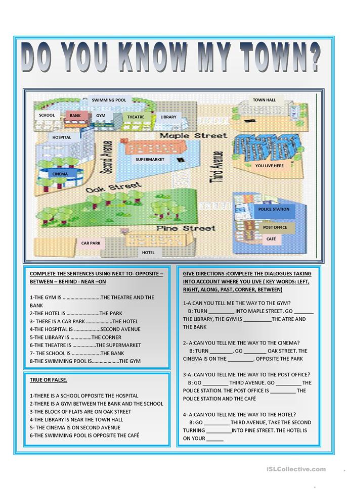 DO YOU KNOW MY TOWN? worksheet - Free ESL printable ...