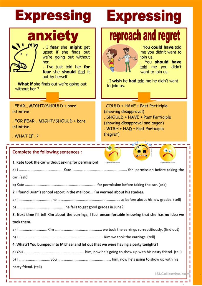 expressing fear reproach and regret worksheet free esl printable worksheets made by teachers