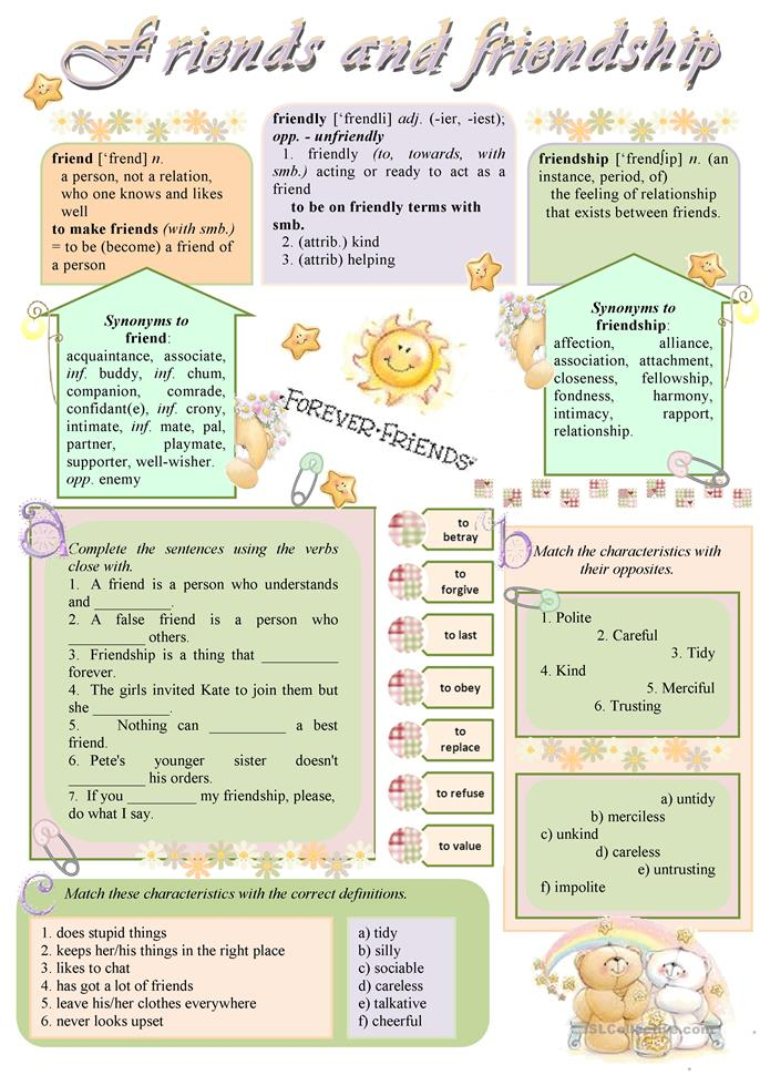 Friends And Friendship Worksheet Free Esl Printable