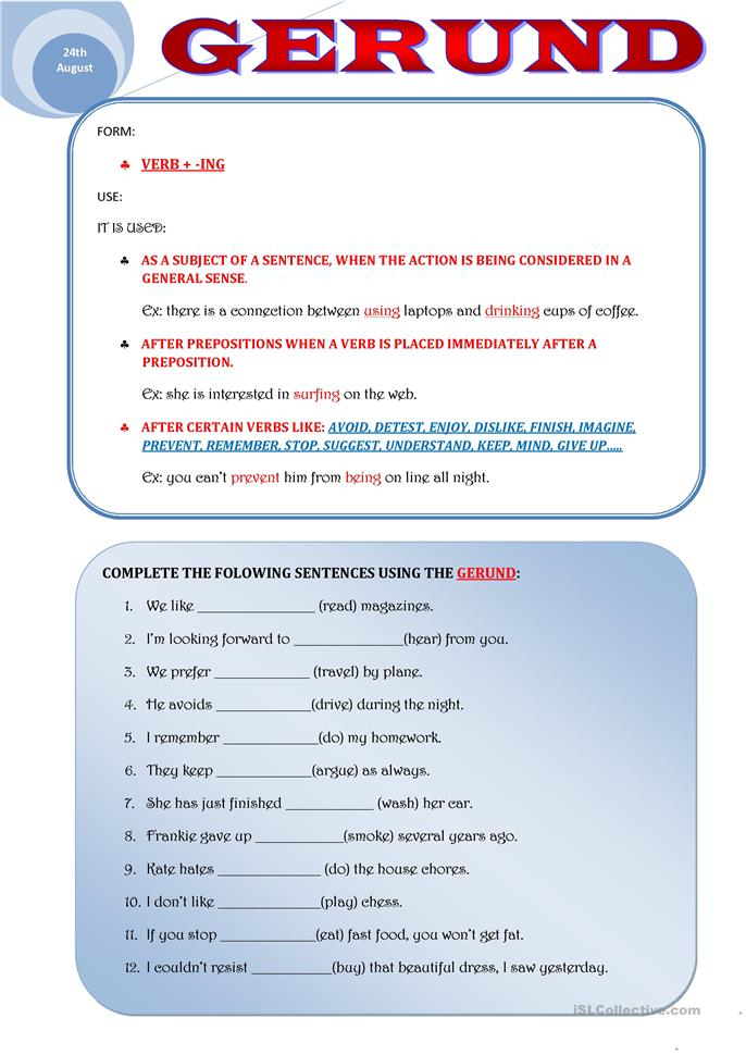 GERUND worksheet - Free ESL printable worksheets made by teachers