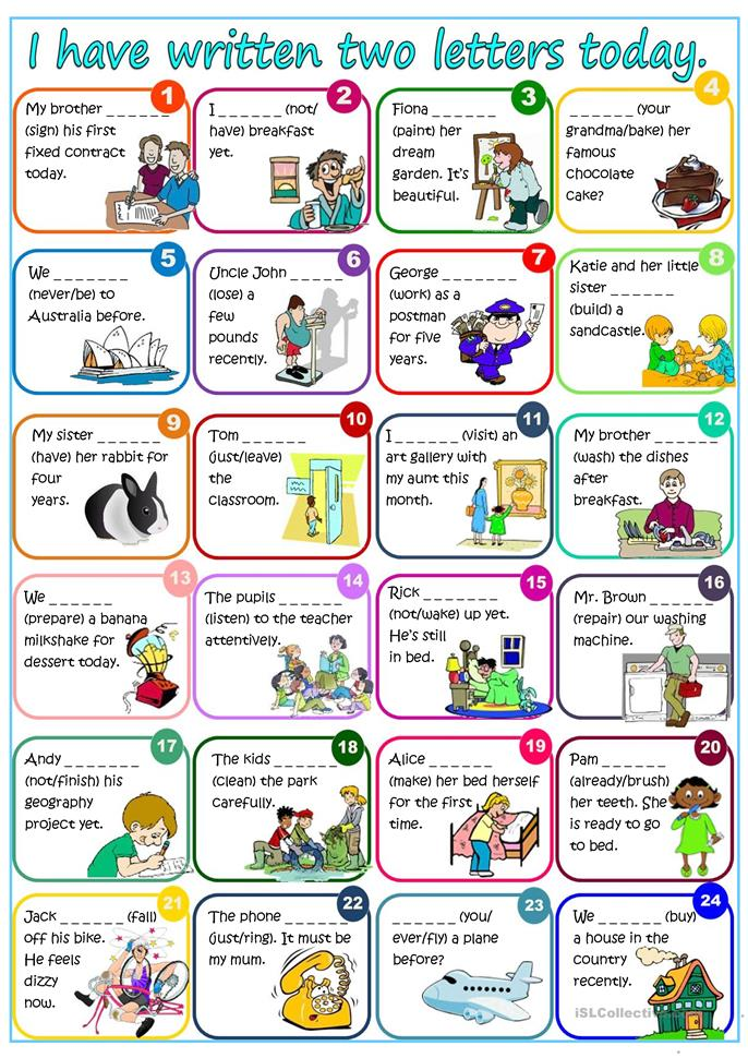 I have written two letters today - Pr... - ESL worksheets