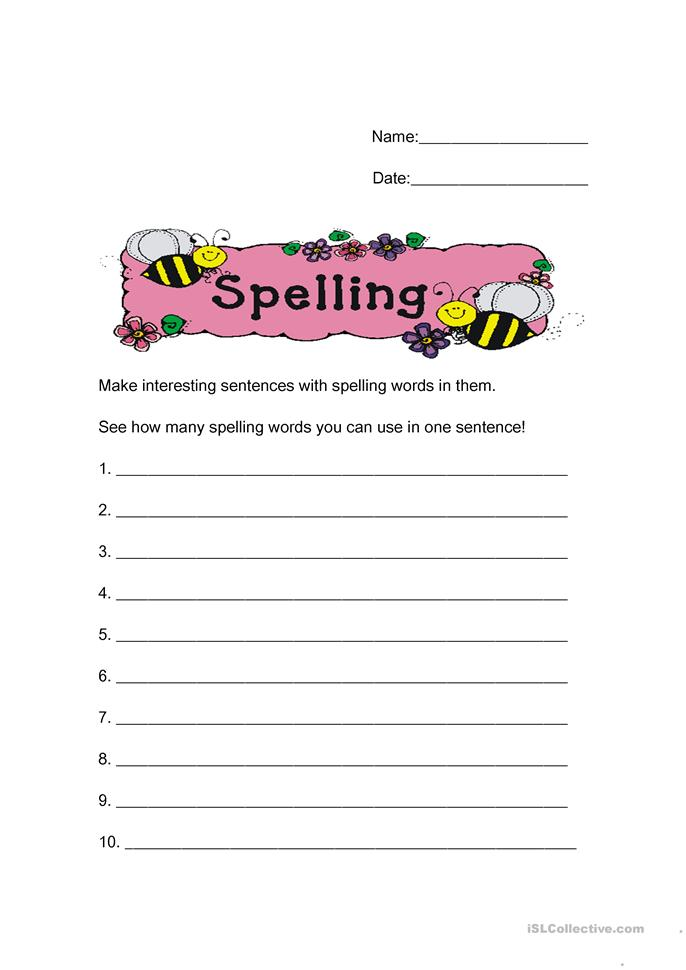 Printables Spelling Words Worksheets 3 free esl spelling words worksheets make sentences from your words