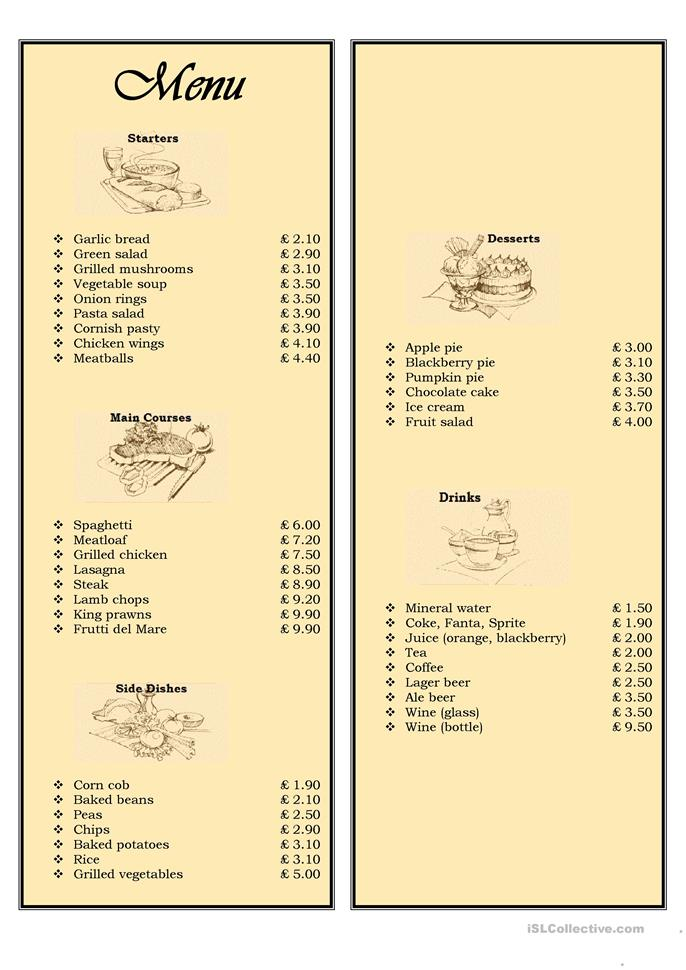 Menu in a restaurant - ordering food - ESL worksheets