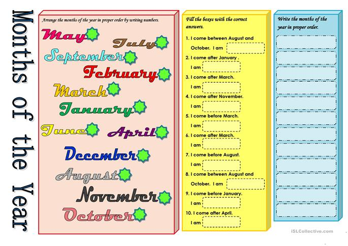 Number Names Worksheets : teaching months of the year worksheets ...