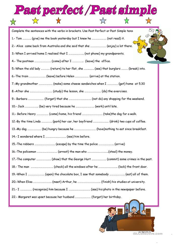 Past continuous worksheets for adults SAMOACOLLAPSEGA – Past Perfect Worksheet