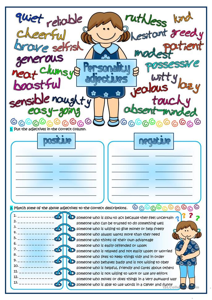 Personality adjectives - ESL worksheets