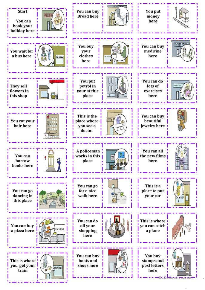 places in town dominoes - ESL worksheets