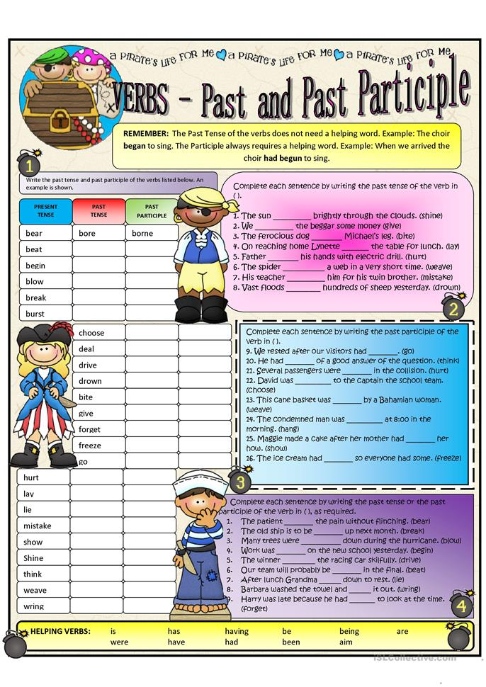 PRESENT AND PAST PARTICIPLE - ESL worksheets