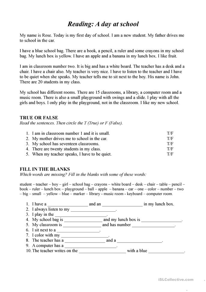 Reading: A day at school - ESL worksheets
