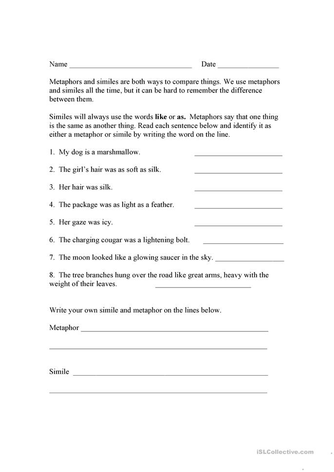 Printables Simile And Metaphor Worksheet 24 free esl similes worksheets and metaphors