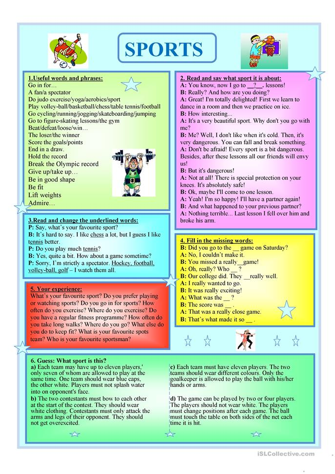 Sports - ESL worksheets