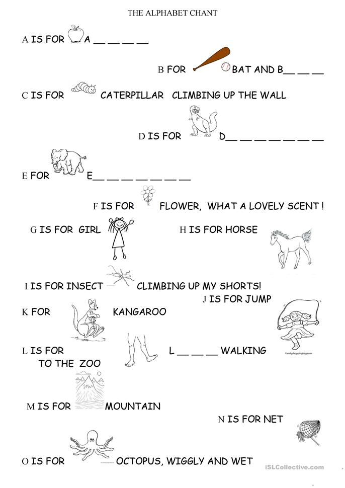The alphabet chant - ESL worksheets