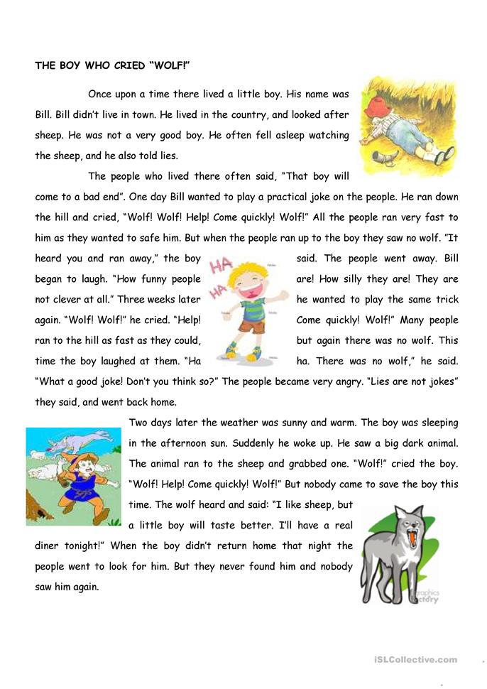 The boy who cried wolf - ESL worksheets