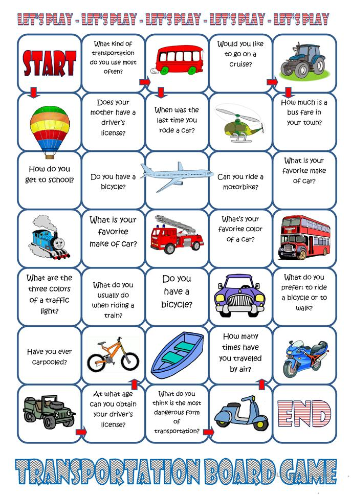 Transportation Board Game worksheet - Free ESL printable ...