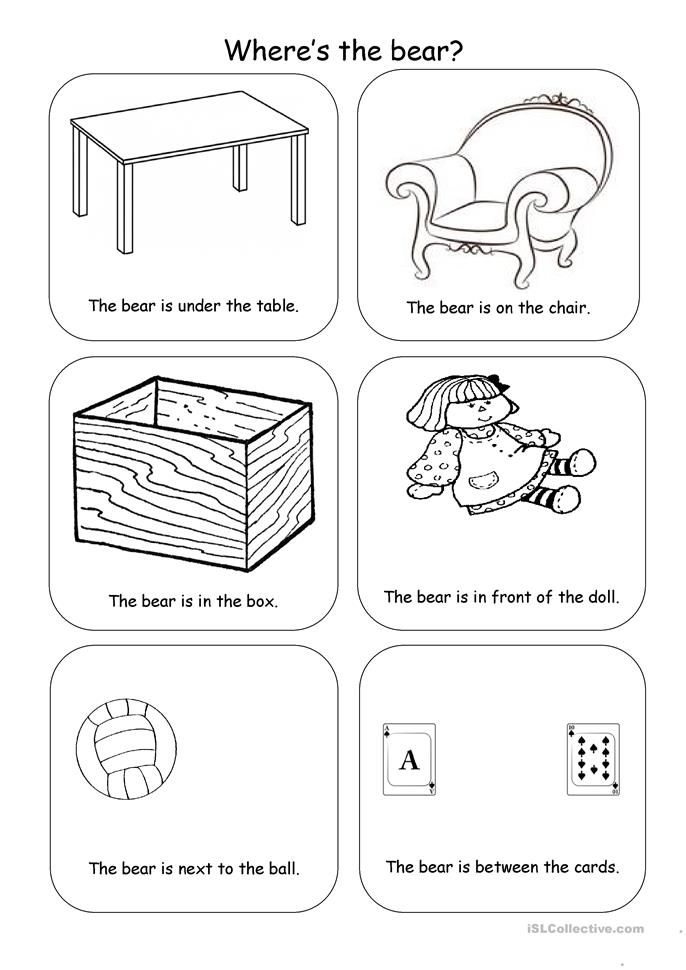 Where's the bear? - ESL worksheets