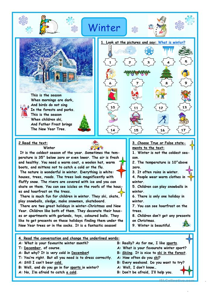 Winter - ESL worksheets