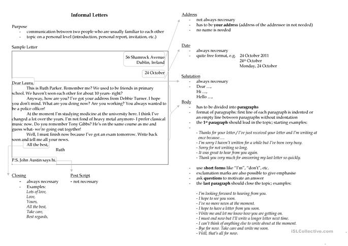 Writing an Informal Le... - ESL worksheets