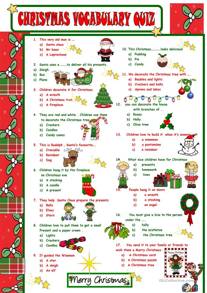 Xmas quiz - ESL worksheets