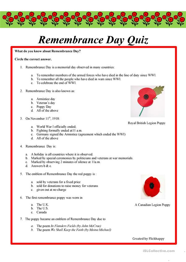 Remembrance Day Quiz - English ESL Worksheets for distance ...