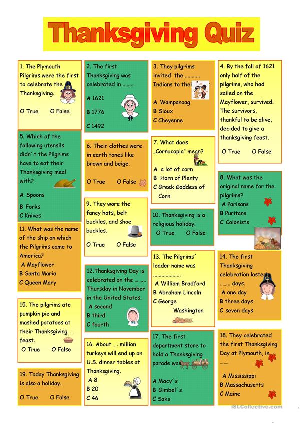 photo about Thanksgiving Trivia Printable called Thanksgiving Quiz - English ESL Worksheets