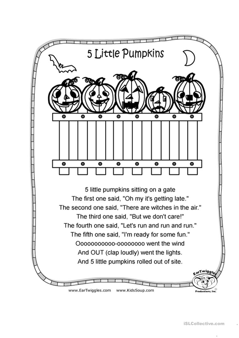 image regarding Five Little Pumpkins Poem Printable titled 5 Very little Pumpkins - English ESL Worksheets