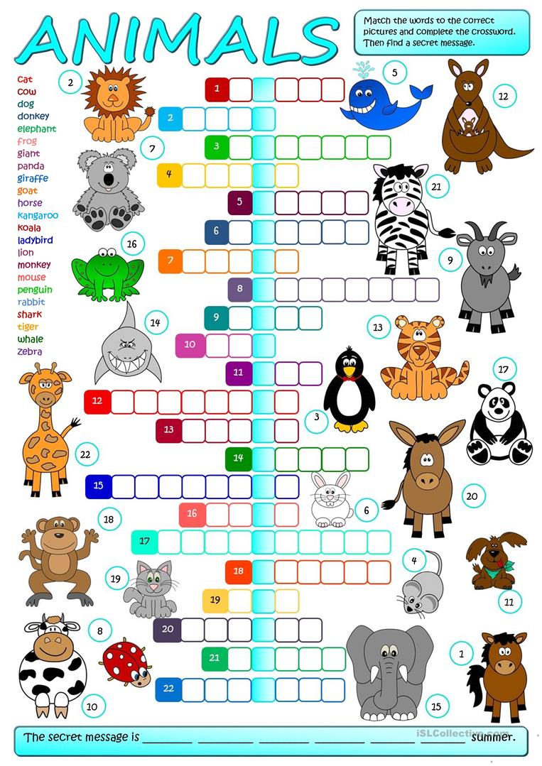 Célèbre 1648 FREE ESL animal worksheets CU75