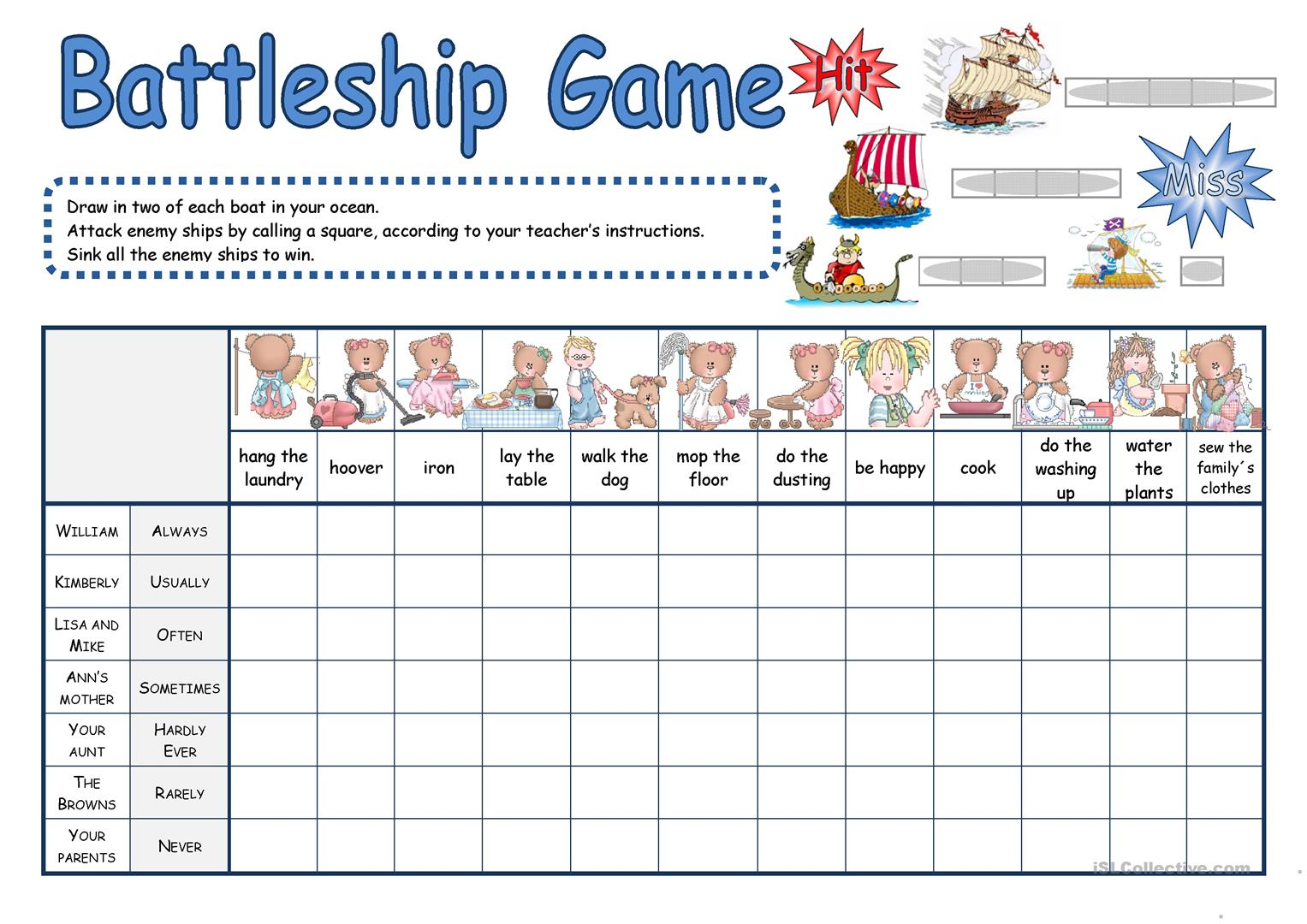 graphic relating to Printable Battleship Game called Battleship video game - English ESL Worksheets