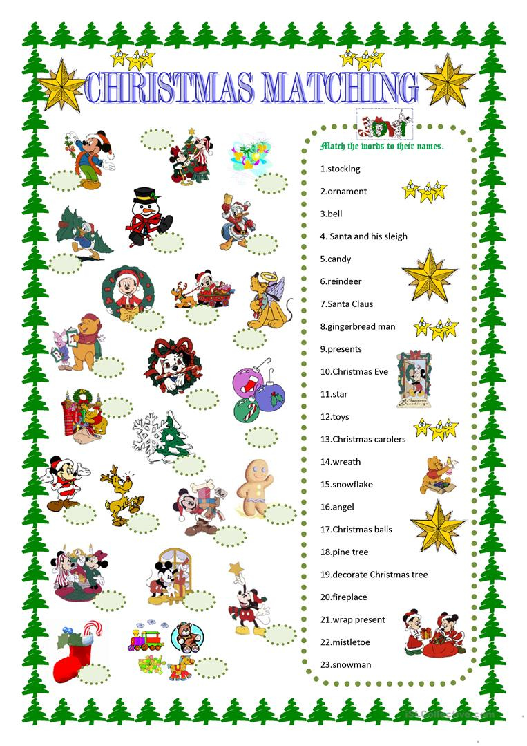 Christmas matching with Disney characters worksheet - Free ESL ...