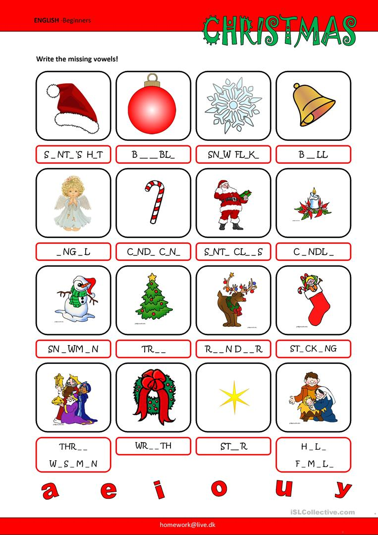 Worksheets Missing Vowel Worksheets 144 free esl vowel worksheets christmas missing vowels
