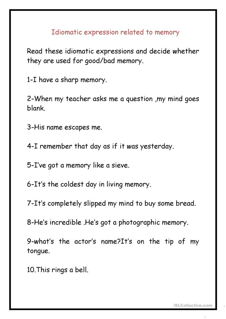 IDIOMATIC EXPRESSIONS RELATED TO MEMORIES. - English ESL Worksheets